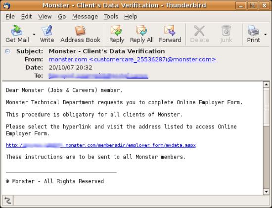 [Monster.com phish email]