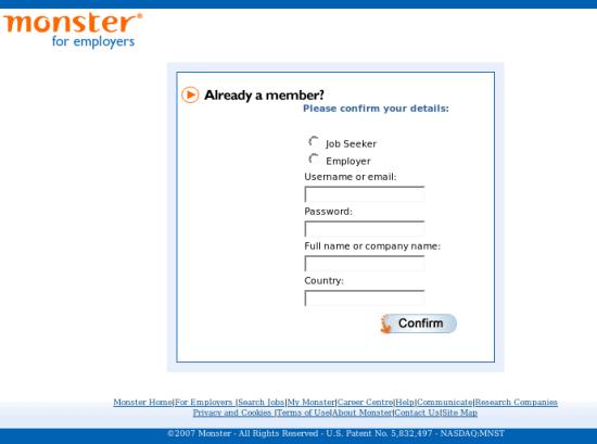 [Phish site attacking Monster.com]