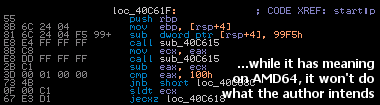 Vetor infection in an AMD64 executable
