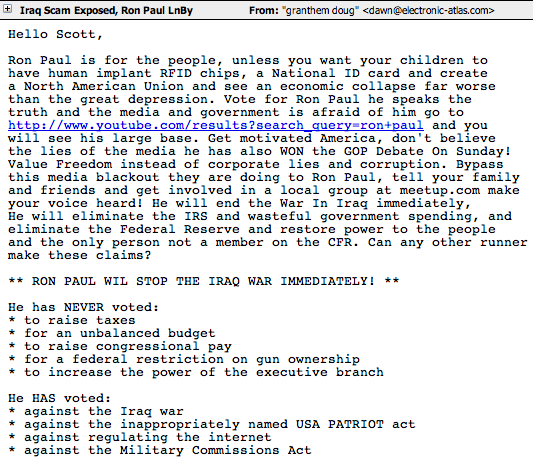 Ron Paul spam sample