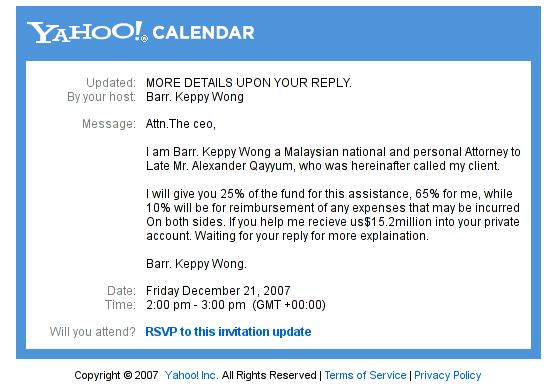 Nigerian scam using Yahoo Calendar