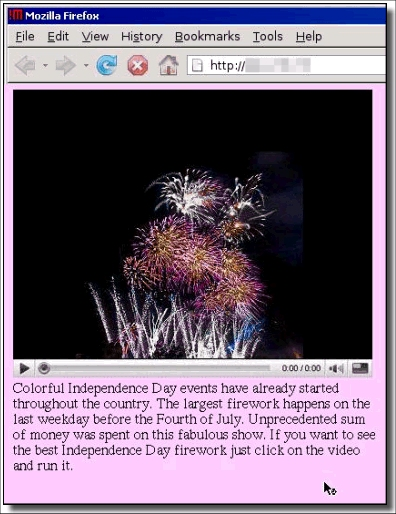 The website pretends to contain a video of fireworks