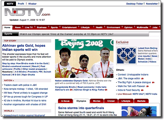 The Olympic Games section of NDTV's website has been struck by an SQL Injection attack