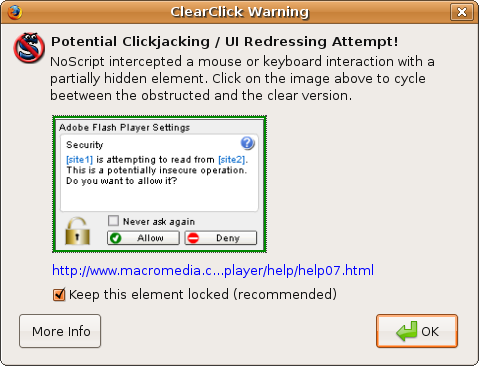 [ClearClick warning]