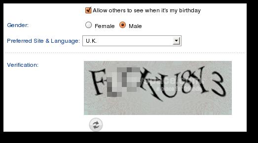 [MySpace CAPTCHA image]