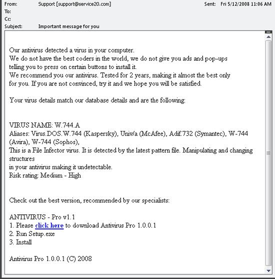 Fake anti-virus attack