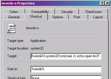 Shortcut Properties Page