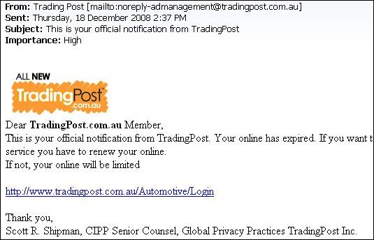 Trading Post phishing email