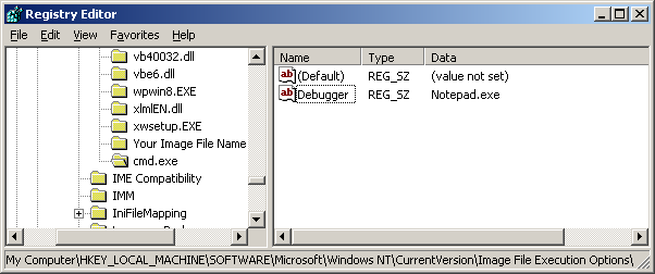 Modifying the registry with registry editor