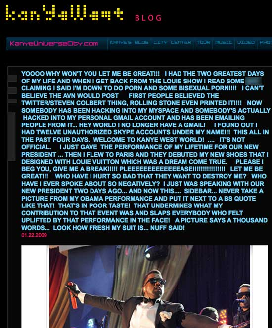 Post on Kanye West's blog