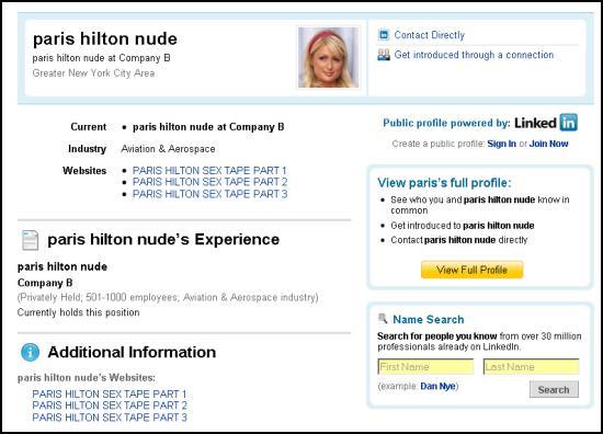 Paris Hilton sex tape on LinkedIn