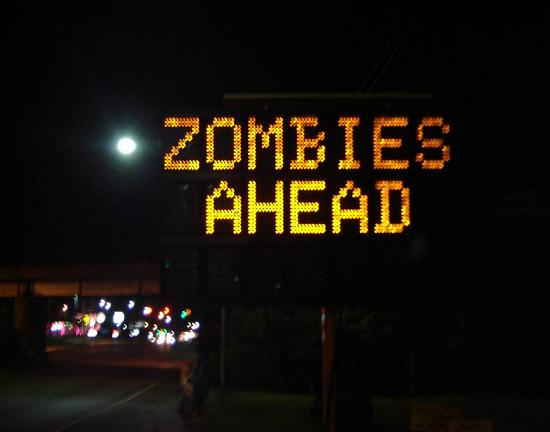 Zombies Ahead hacked traffic sign
