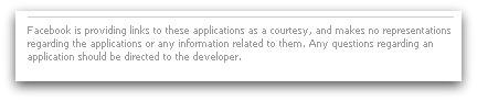 Facebook application small print