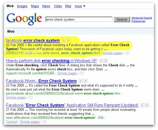 Google search results for Error Check System