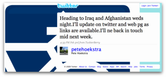 Twitter message posted by Peter Hoekstra