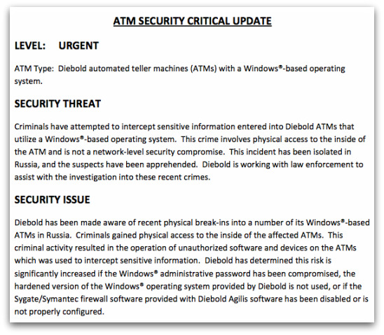 Urgent security advisory from Diebold regarding ATM malware