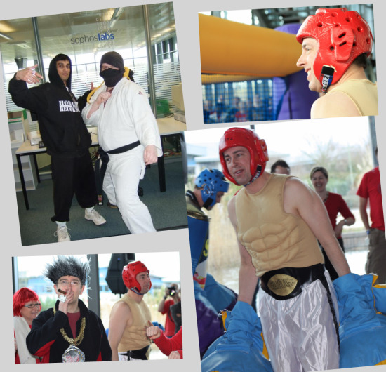 Bouncy boxing for Red Nose Day at Sophos