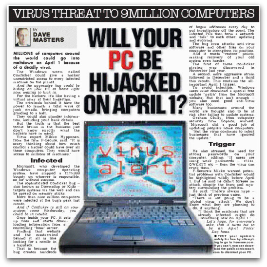 Report on the Conficker worm from The Sun