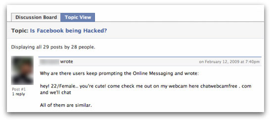 Message about Chat Webcam Free on facebook