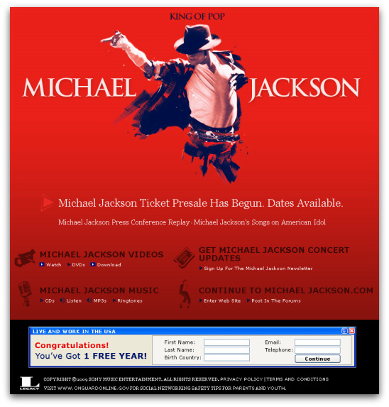 Michael Jackson's website