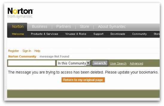 Missing messages on Norton forum