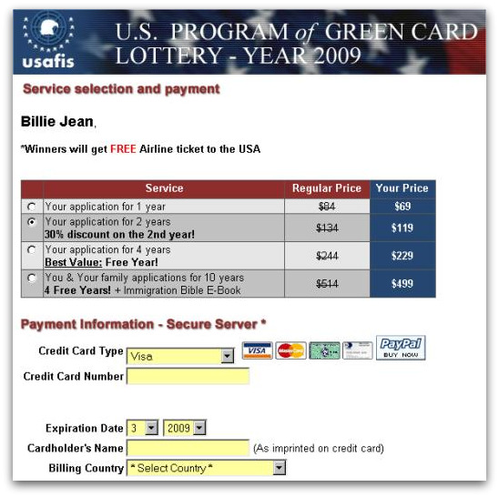 Form on Usafis Diversity Lottery website