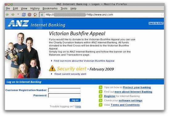 Fake ANZ bank page