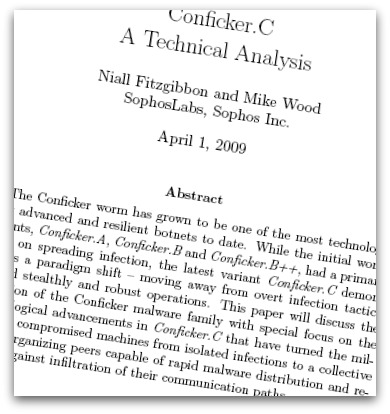Cover of Conficker technical paper