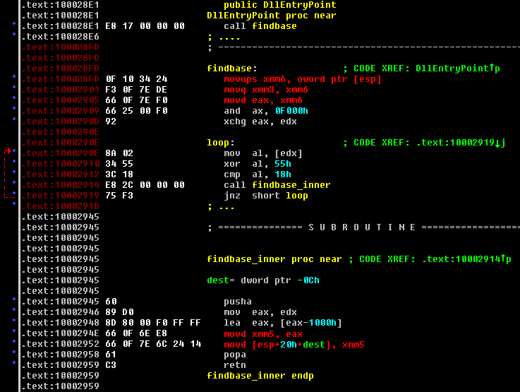 Disassembly view of FakeAV with MMX