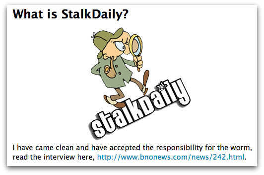 Revised statement on StalkDaily.com website