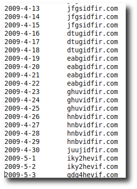 Snapshot of generated domains used in Sinowal attacks