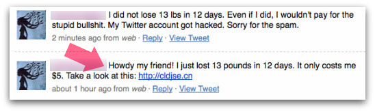 Twitter account abused by Acai Berry spammers