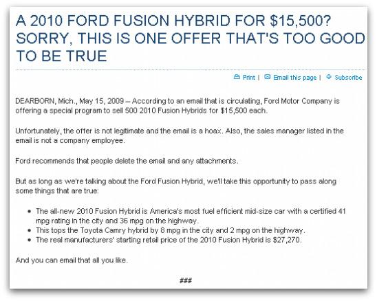 Ford press release