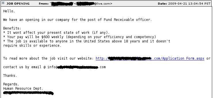 Sample job phishing message