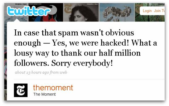 New York Times's fashion blog apologises for the hacking incident on Twitter