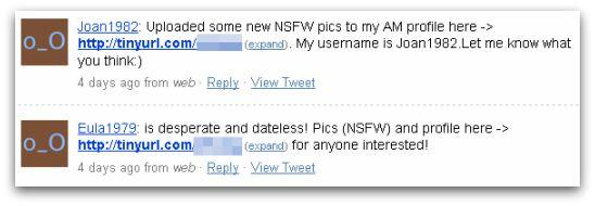 Spammers advertising website on Twitter