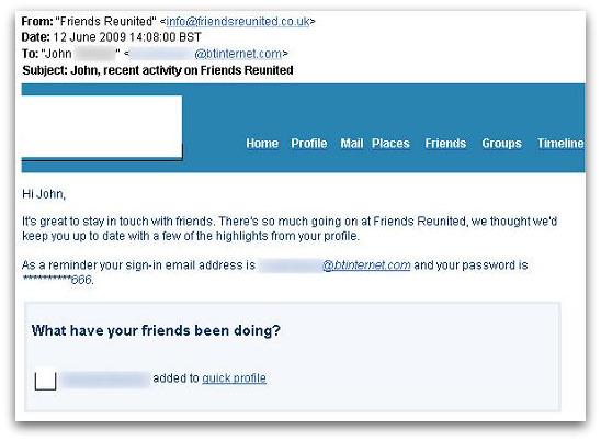 Friends Reunited email