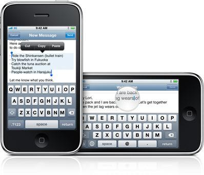 Features of the Apple iPhone 3.0 OS include a landscape keyboard and cut-and-paste