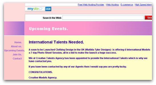 Bogus model agency website