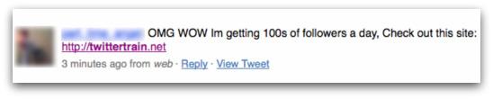Twitter user advertising the Twittertrain website
