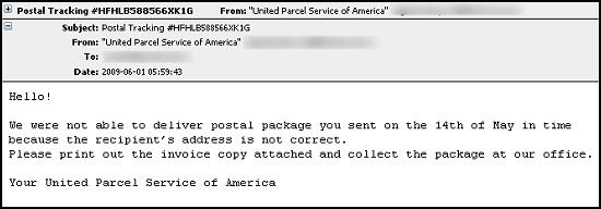 Malicious spam attack posing as communication from UPS