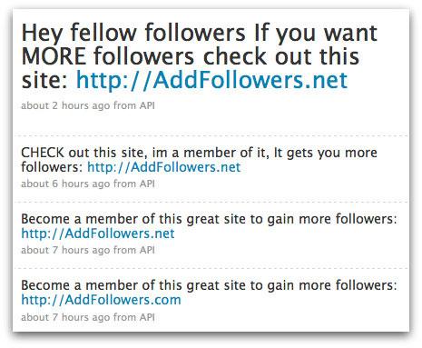 AddFollowers Twitter spam