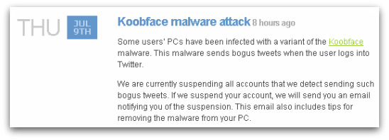 Warning about Koobface from Twitter