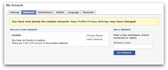 London network on Facebook