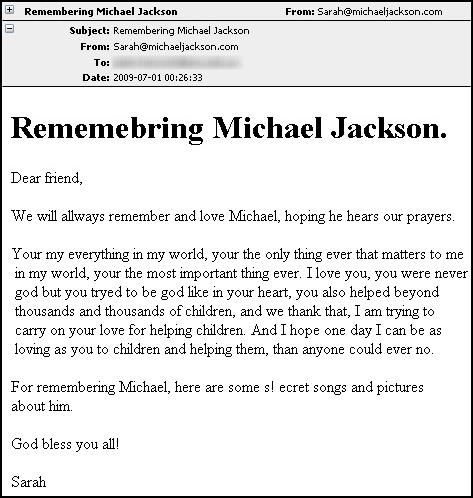 Michael Jackson email worm