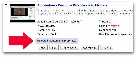 YouTube ban of Sophos malware video