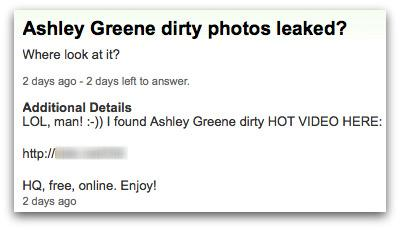 Ashley Greene pics malicious link posted by a hacker