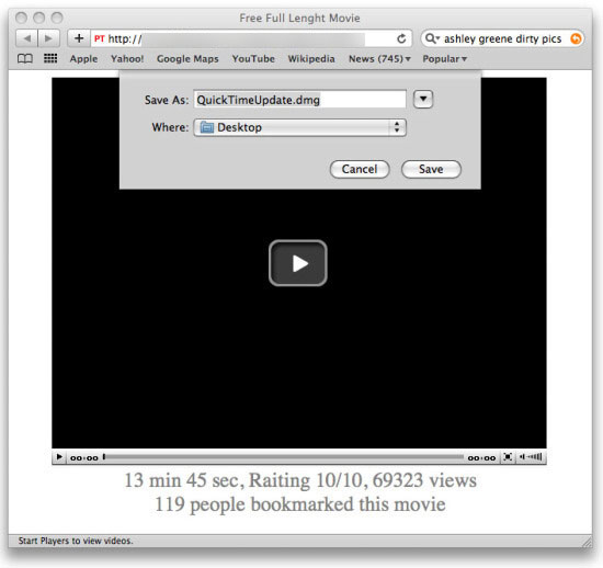 Ashley Greene dirty pics webpage leads to malware