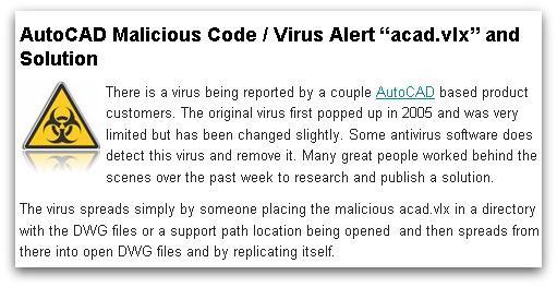 AutoCAD virus alert